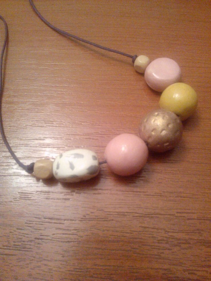 clay beads # handpainted# pink&mustard margele lut