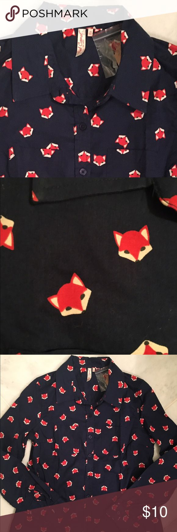 Little foxes collared shirt Red Camel little foxes collared shirt; size medium. Red Camel Tops Button Down Shirts