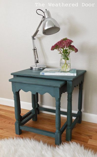 A Pair of Milk Paint Nesting Table | from The Weathered Door
