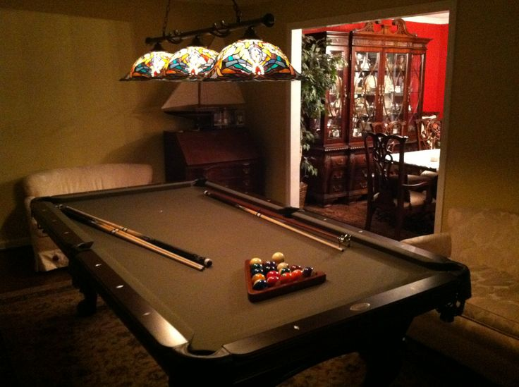 olhausen santa ana pool table, espresso, with toltec lighting
