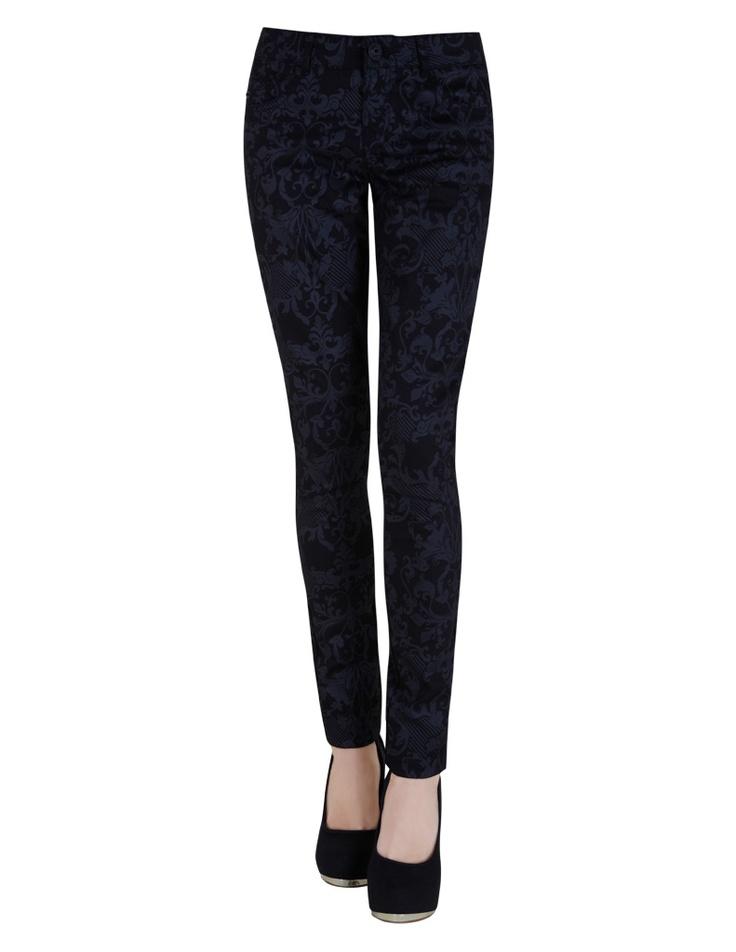 Jeans super skinny medium rise estampado {Blanco}
