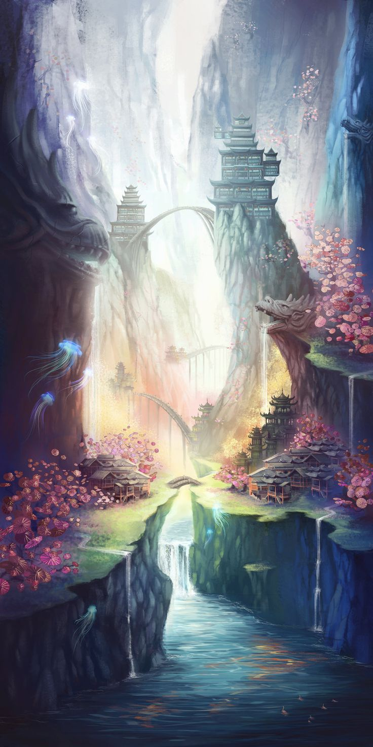 ✮ ANIME ART ✮ anime scenery. . .nature. . .waterfalls. . .bridge. . .eastern architecture. . .flowers. . .jellyfish. . .fantasy world. . .amazing detail. . .kawaii
