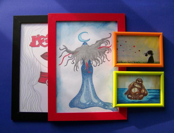 My artworks in frames.