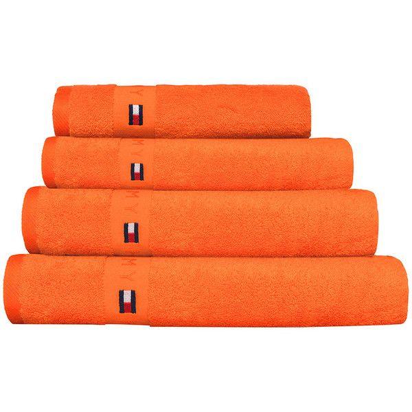 Tommy Hilfiger Plain Orange Range Towel - Bath Sheet ($70) ❤ liked on Polyvore featuring home, bed & bath, bath, bath towels, bathroom, orange, tommy hilfiger, orange bath towels, tommy hilfiger bath towels and embroidered bath towels