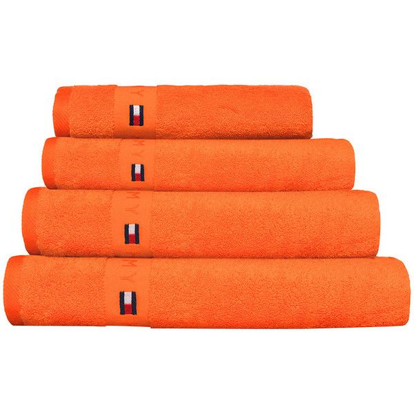 Tommy Hilfiger Plain Orange Range Towel - Bath Sheet (89 CAD) ❤ liked on Polyvore featuring home, bed & bath, bath, bath towels, bathroom, orange, tommy hilfiger, orange bath towels, tommy hilfiger bath towels and embroidered bath towels