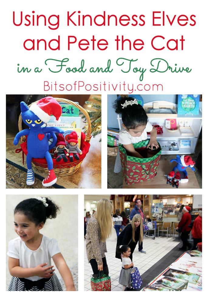 Fun way for toddlers and preschoolers to make a difference with Kindness Elves and Pete the Cat encouraging participation in a food and toy drive.