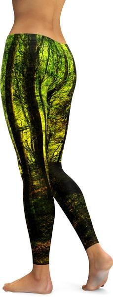 Check out our wicked forest leggings. If you love the forest you will absolutely love this pair! We gave the forest a green glow which gives the impression that it is haunted. The long trees and the u