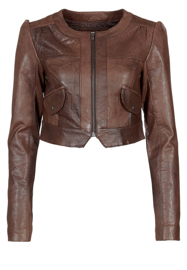 Vila - VIVIAN LEATHER BOLERO - Giacca di pelle - marrone