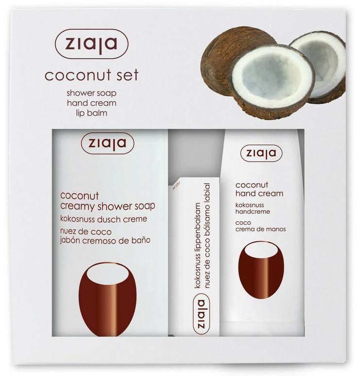 Ziaja Kokonuss Set beinhaltet folgende Produkte: Kokosnuss Handcreme 80ml Indikation Trockene und normale Haut.  Wirkung Pflegt beanspruchte Hände, die den schädlichen Umwelteinflüssen ausgesetzt sind. Regeneriert die Haut, macht sie weich und glatt. Stärkt splitternde und brüchige Nägel.  Anwendung In die Haut einmassieren.  Aktive Wirkstoffe Lipide aus der Kokosnuss, Canola-Öl   Kokosnuss Dusch Creme 500ml Indikation Trockene und normale Haut.  Wirkung Erhöht die Hautelastizität und…