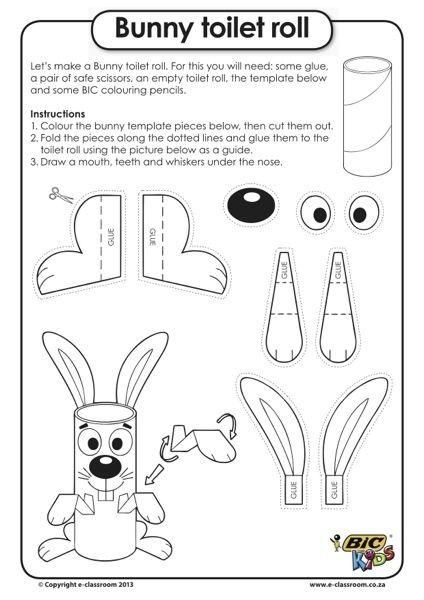 Faire un lapin avec un rouleau en carton. Idée de création de #Paques à faire avec les enfants: