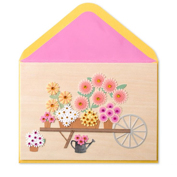 Wheelbarrow with potted flowers card from Papyrus