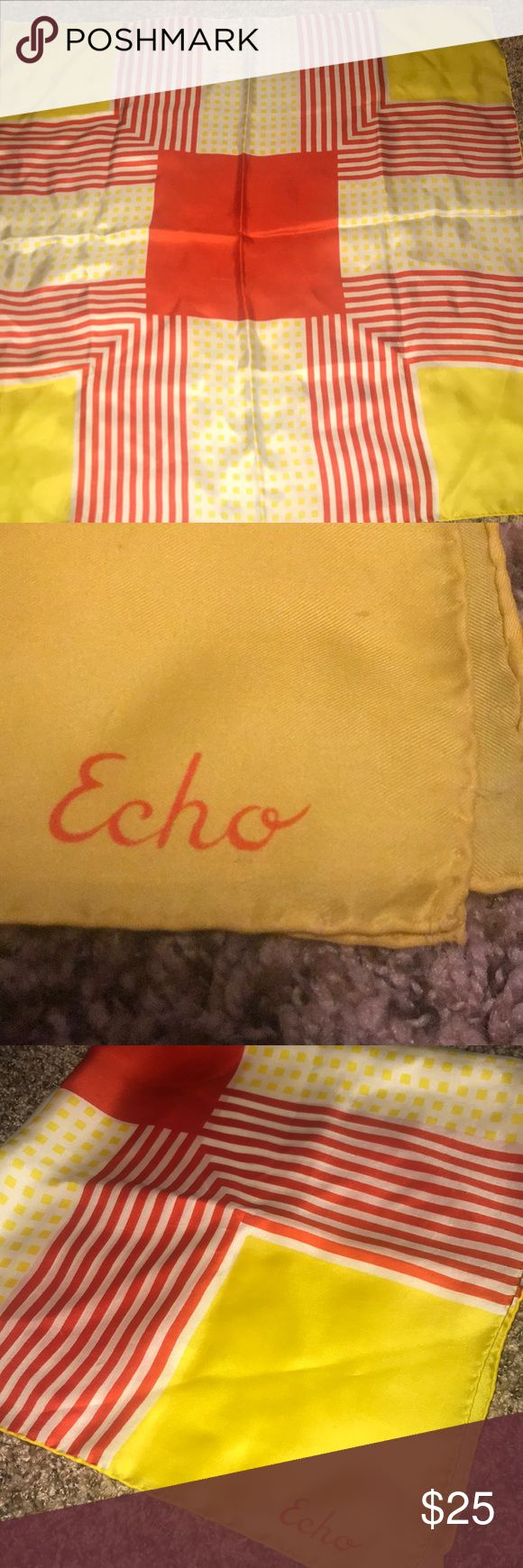 Echo scarf Colors are red, white and yellow, stripes and dots design. Designer Echo. Echo Accessories Scarves & Wraps