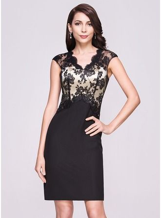 Sheath/Column V-neck Knee-Length Chiffon Lace Cocktail Dress http://bit.ly/1e4q9ID