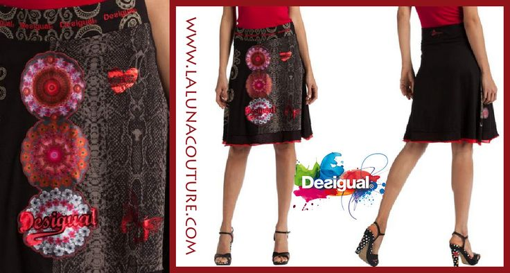 Black and red is a combination that never fails. This layered A-line skirt has an eye-catching galactic print. The wide and elasticated waist gives you a comfortable fit. Take this Desigual classic home! Only $64! Click link to order now!!  https://www.lalunacouture.com/desigual-berlin-a-line-skirt.html  #desigual #desigualberlin #shop #boutique #ootd