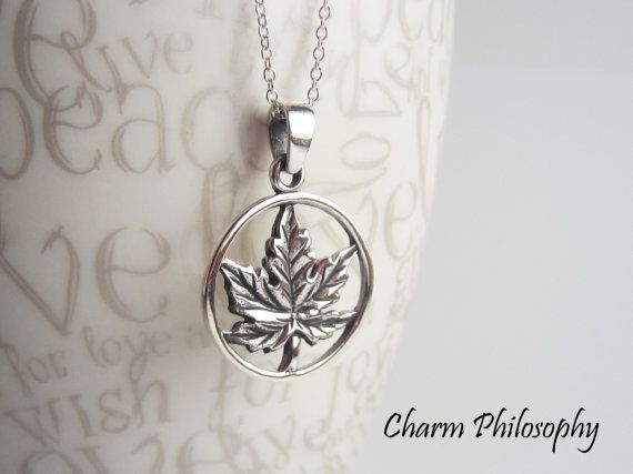 Maple Leaf Necklace 925 Sterling Silver by charmphilosophy