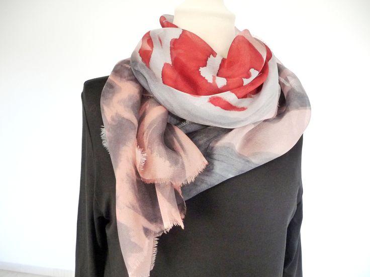 Handpainted silk scarf
