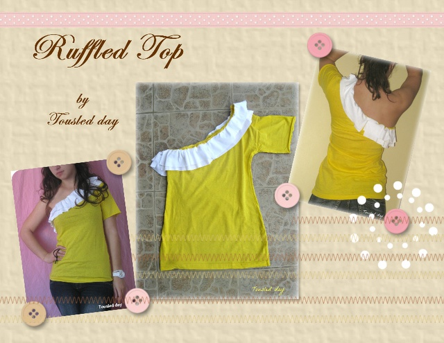 DIY Ruffled One Shoulder TopTshirt Crafts, Sewing Projects, Stvarno Super, Diy Ruffles, Diy Clothing, Cool Ideas, Crafts Worth, T Shirts, One Shoulder Tops Diy