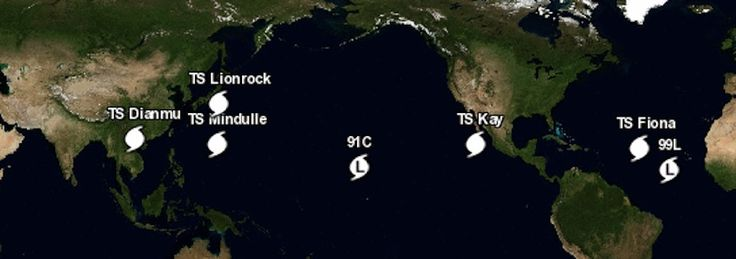 Fiona May Fizzle; 99L is Set to Strengthen | Dr. Jeff Masters' WunderBlog.  Figure 5. The latest WU hurricane tracking map shows a plethora of systems across the Northern Hemisphere tropics.
