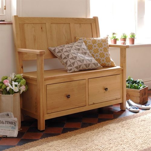 The lovely Portland Oak monks bench, perfect for hallway storage or a place to perch in the kitchen