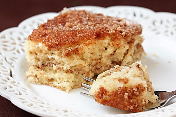 1/2 cup (1 stick) butter, room temperature 1 cup sugar 2 eggs 2 cups flour 1 tsp. baking soda 1 tsp. baking powder 1/2 tsp. salt 1 (12 oz.) container of sour cream (I use reduced-fat) 1 tsp. vanilla extract Topping Ingredients:  1 tsp. cinnamon 1/4 cup sugar 1/4 cup brown sugar 1 cup chopped pecans or walnuts (optional)