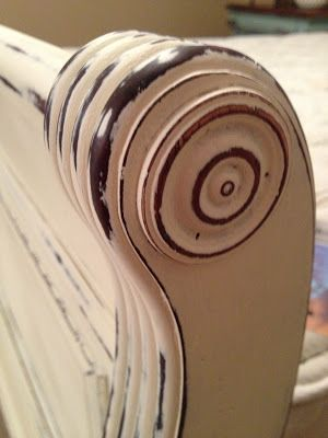 old white chalk paint on sleigh bed                                                                                                                                                                                 More