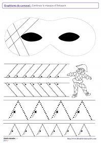 Graphisme de carnaval 12 fiches de graphisme sur le thème de carnaval, pour les élèves de maternelle (moyenne section et grande section). Plusieurs notions travaillées, telles que les lignes verticales, les lignes obliques, les spirales, les ponts, les pics, les ronds, les points...