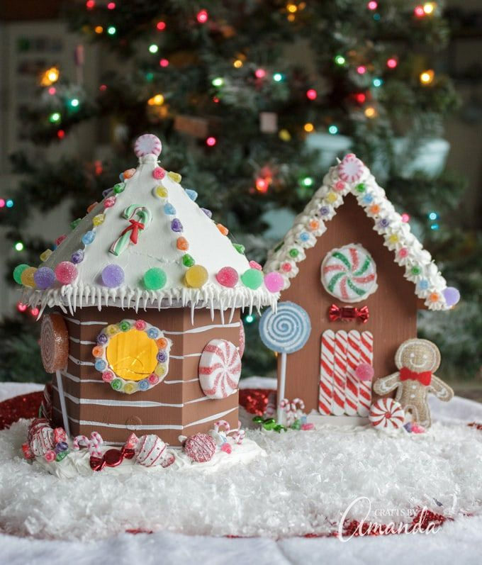 Learn How To Make Adorable Gingerbread Houses From Wooden Birdhouses Gingerbread House Crafts For Seniors Gingerbread House Kits