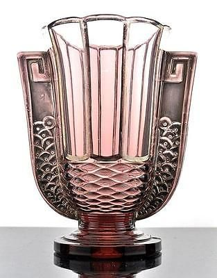 "2597/VERY RARE BELGIAN ART DECO GLASS VASE ""ROMEO"" VAL SAINT LAMBERT 1935."
