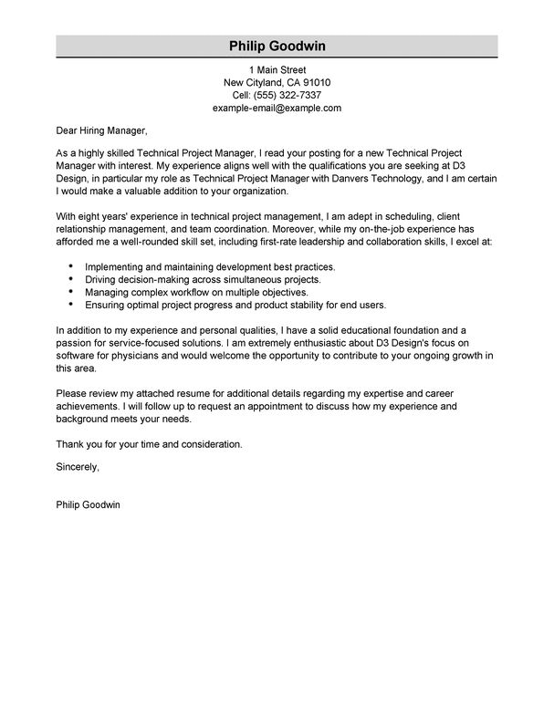 best technical project manager cover letter examples livecareer - Ample Of A Cover Letter