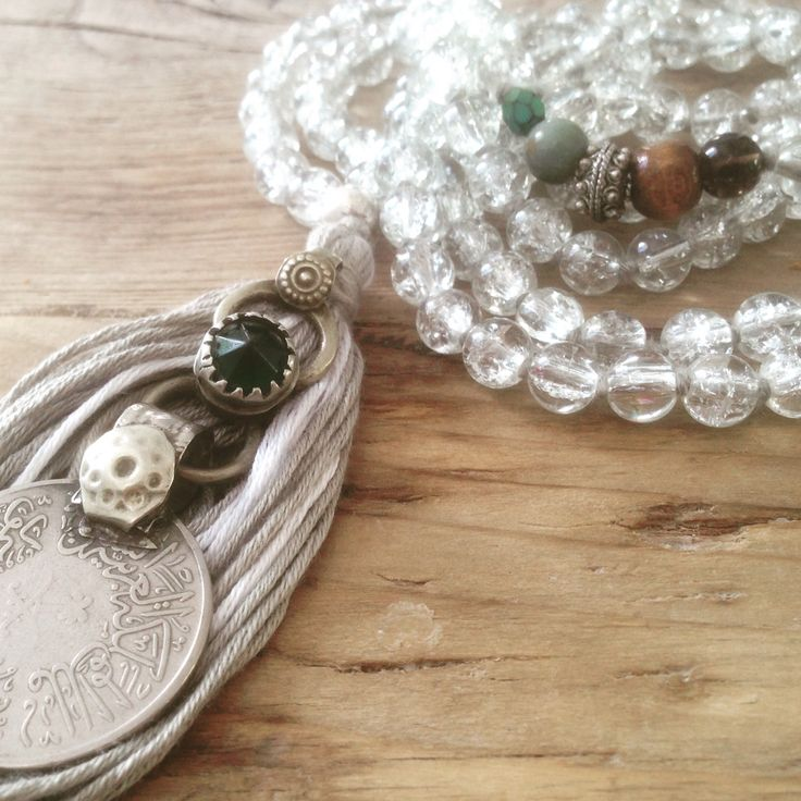 """Beautiful mala necklace """"Mindfulness"""" handmade with love & intention from reclaimed, antique and organic material. Made by Shinseina Jewellery, Norway X"""