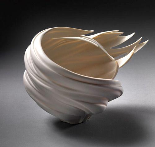 Wind Bowl - porcelain by Jennifer McCurdy