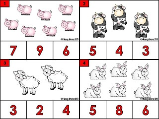 Free Count and clip farm animal cards. 12 counting cards with answer recording sheet.