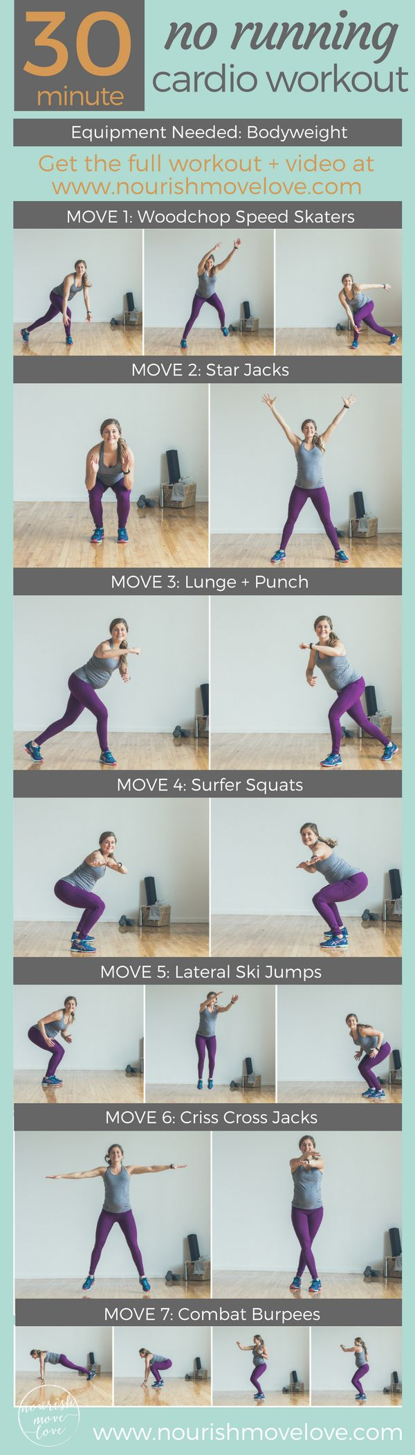 30-Minute, No Running At-Home Cardio Workout. 7 bodyweight exercises to tighten and tone your troublespots!   www.nourishmovelove.com