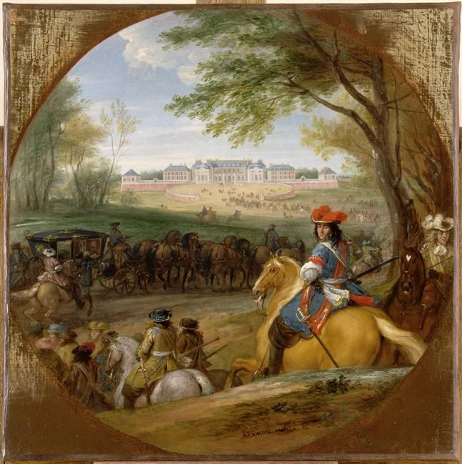 Adam Frans Van der Meulen | Arrivée de Louis XIV précédé des gardes du corps en vue de l'ancien château de Versailles en 1669 | Images d'Art