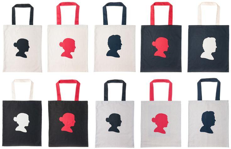 Das eigene Kopfprofil auf handgemachten Produkten: personalisierte Tasche aus 100% Bio-Baumwolle