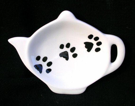 Pawprints On Ceramic Tea Bag Holder Handmade Dog by GoodNiteGracie, $6.00