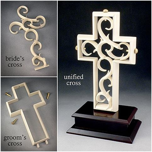 Unity Cross. Groom places the outer Cross on the wood base to symbolize how God created man- Bold, Strong, the Defender of the Family but empty and incomplete without the woman. Bride then places the delicate cross inside of the Grooms to show how God created Woman- Delicate, multi-faceted, taking care of all of the little things that complete the man, and the Two become One. 3 golden pegs lock the union together (Father, and Son, Holy Spirit) What God has brought together...