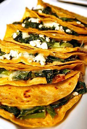 quesadillas with greens & feta ~ yum!: Feta Cheese, Quesadillas Stuffed, Tops Recipe, Green, Food, Stuffed Quesadillas, Grilled Cheese, Corn Tortillas, Feta Yum
