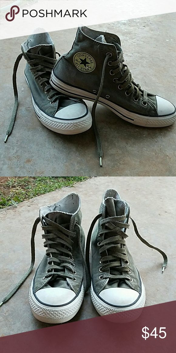 Converse High Tops Dark green Converse High Tops have been worn once. Great condition! Converse Shoes Sneakers