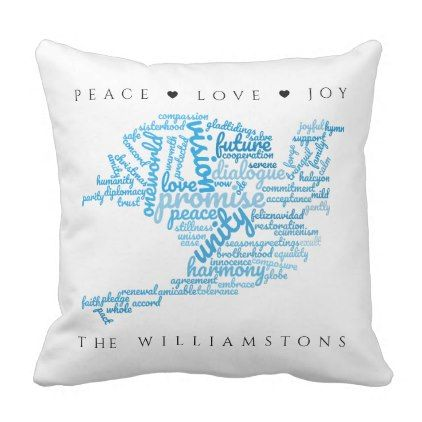 Inspirational Elegant Dove of Peace Tag Cloud Throw Pillow - elegant gifts gift ideas custom presents