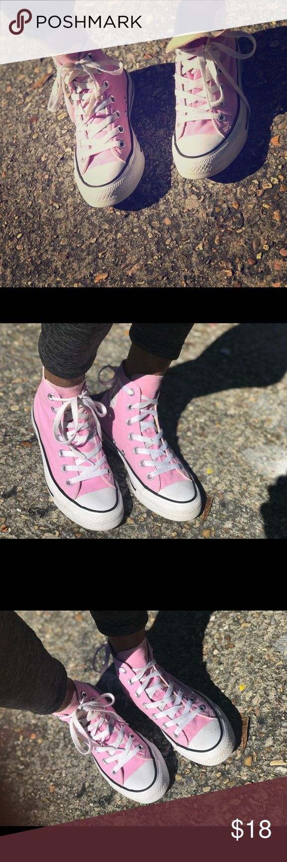 Pink high top converse Above the ankle, high top baby pink converse Converse Shoes Sneakers