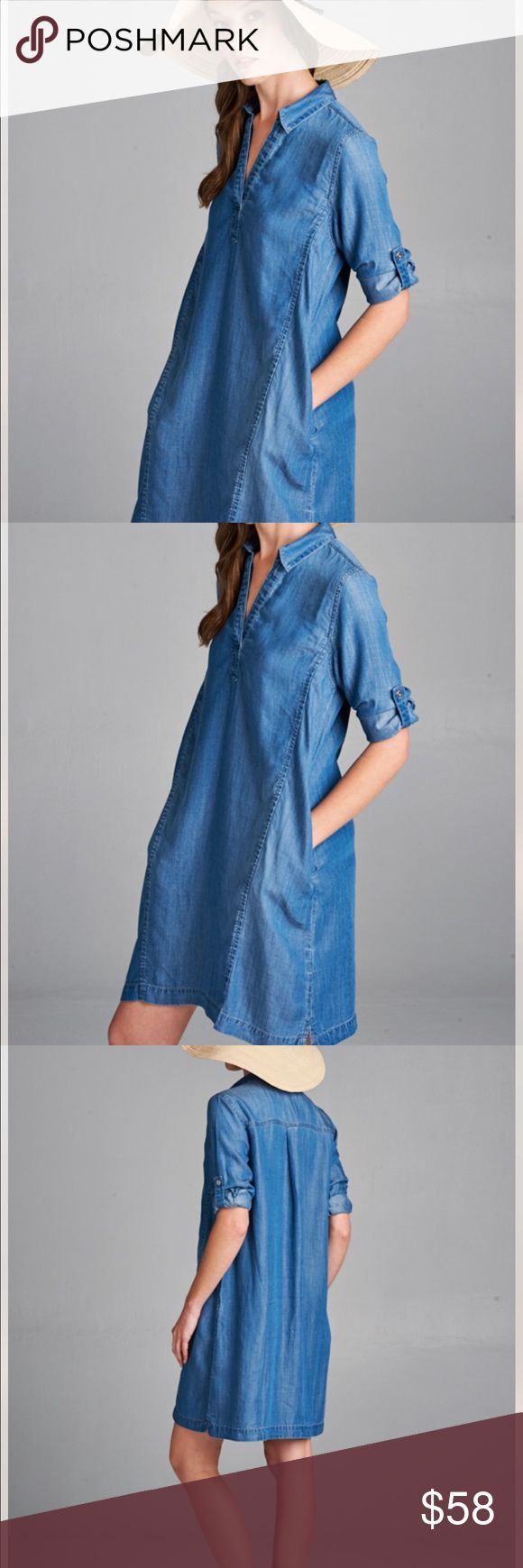 Denim Tencel Dress Beautiful mid-wash denim tencel dress! Roll up sleeves button for versatile styling! Wear arouns town or beach! Dress up with booties or down with sandals! Garment Care: Machine Wash Cold. Sizes: Small Medium Large Dresses Mini