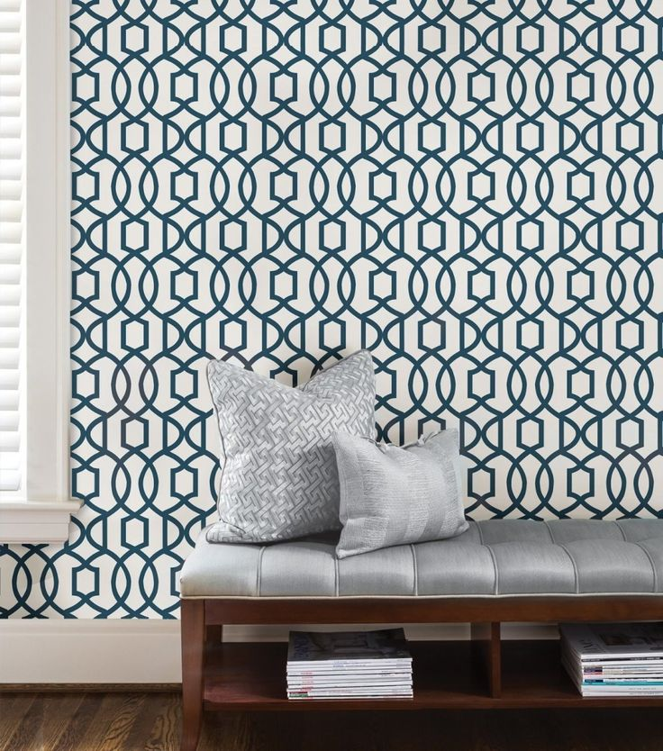 transform your childs room with navy grand trellis peel and stick wallpaper removable repositionable wallpaper is the easy way