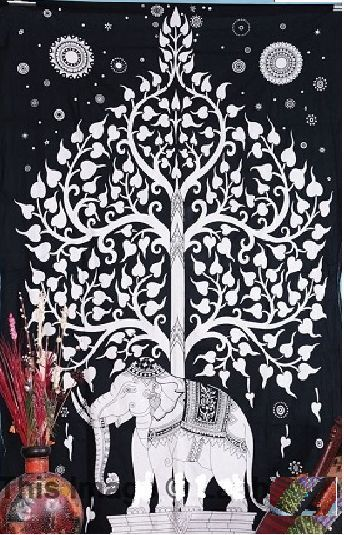 Elephant tree star traditional bed sheet bedspread tapestry indian wall hanging #Handmade