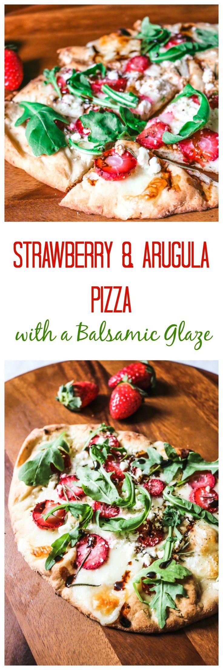 Savory Strawberry Pizza with Balasmic, Feta, Rosemary and Arugula