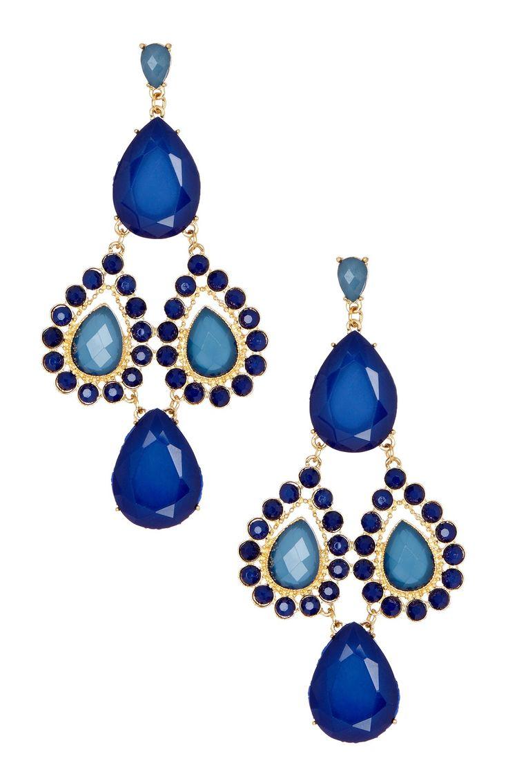 Blue Crystal Teardrop Chandelier Earrings