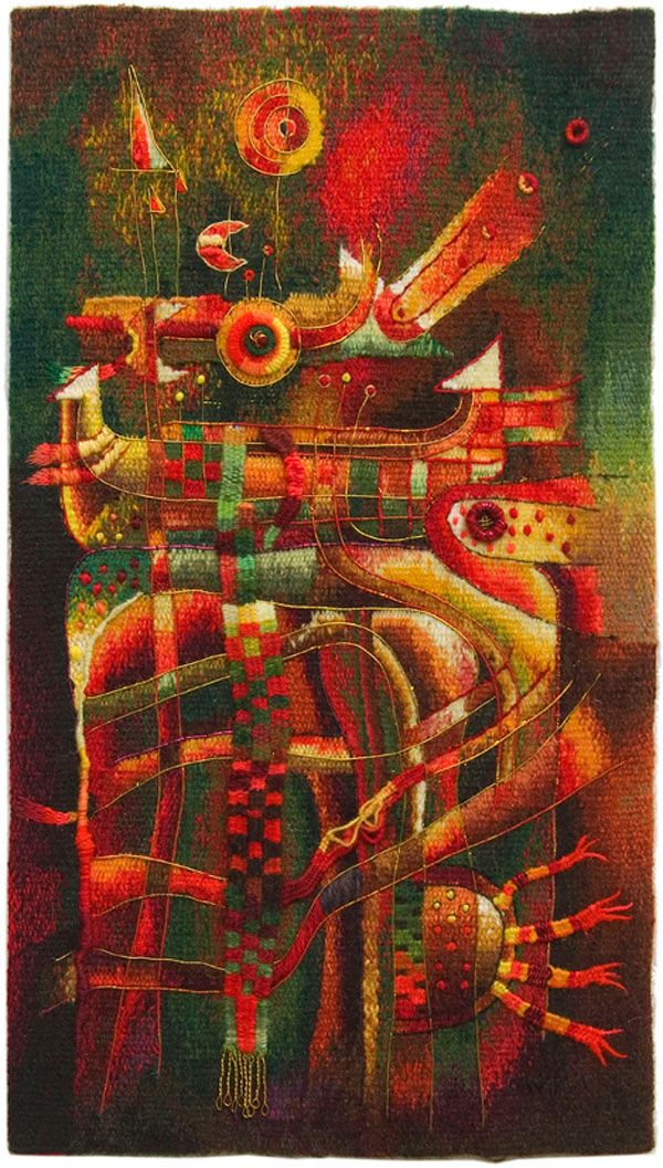 Handwoven Miniature Tapestry by Maximo Laura - Cosmic Harmony II - 35 x 20 cm