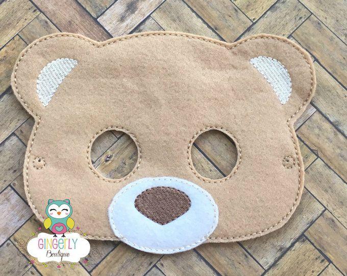 Llevar máscara, niños vestido de máscara, traje de oso máscara, máscara de mezcla de lana, máscara de oso fieltro, Favor fiesta selva, máscara de mono