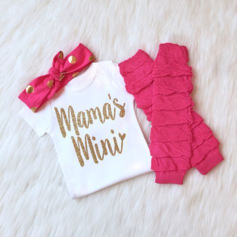 Mother's Day Outfit baby, Mothers Day Onesie, Baby Girl, Baby Girl Clothes, Baby Girl Outfits, Mama's mini, Mother's day shirt, leg warmers by KennedyClairesCloset