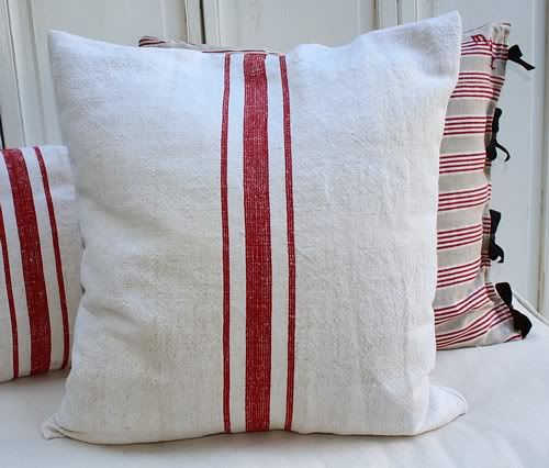 Love these red ticking pillows. Must make them.